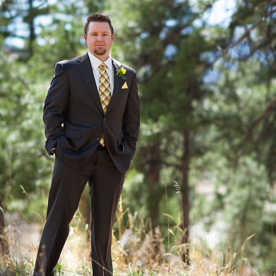 Groom at mountain wedding