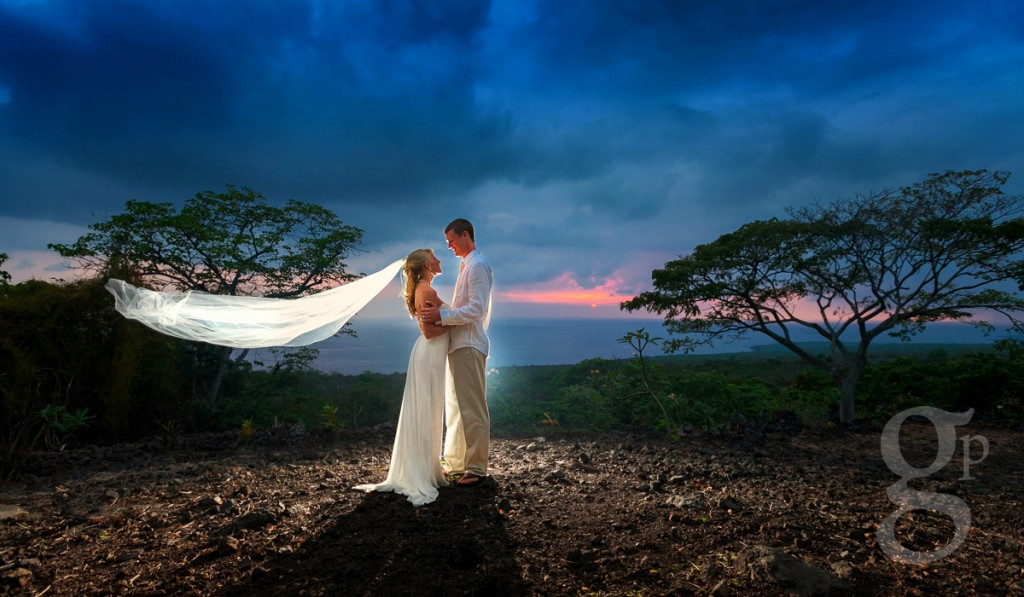 Hawaii wedding photograph at sunset