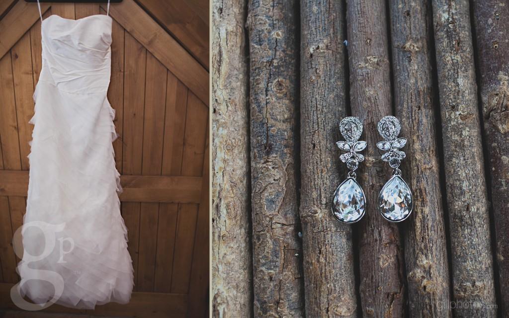 Dress hanging at Rubywood Wedding Venue