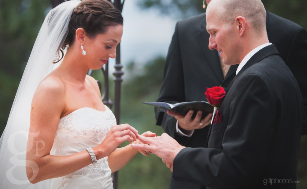 Sliding the wedding ring on the finger