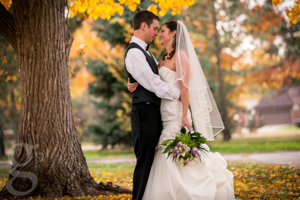 Bride and groom at fall wedding in Denver