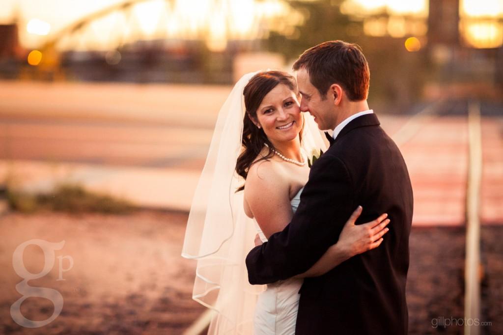 Train track wedding photo