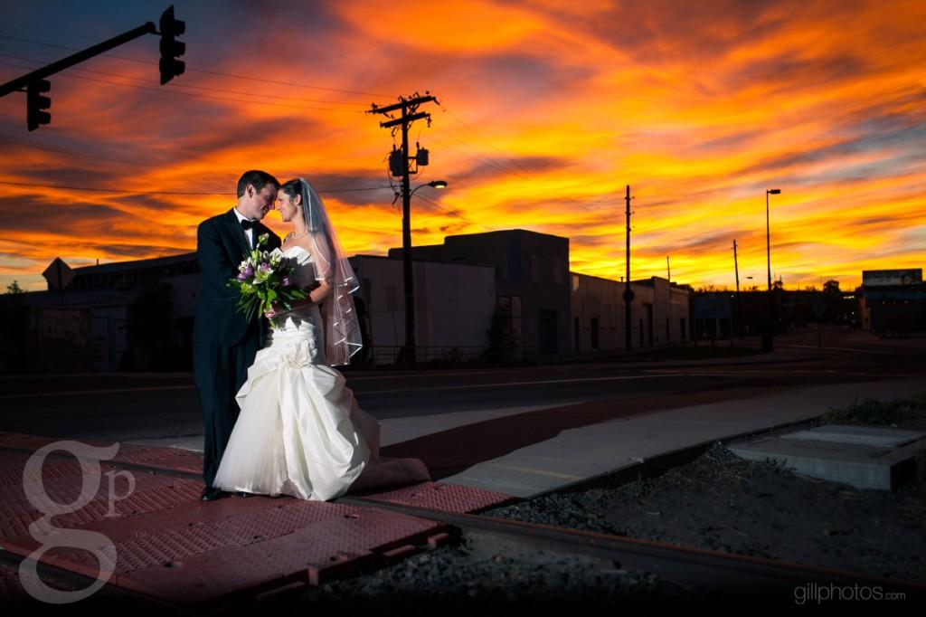 Beautiful sunset wedding photo