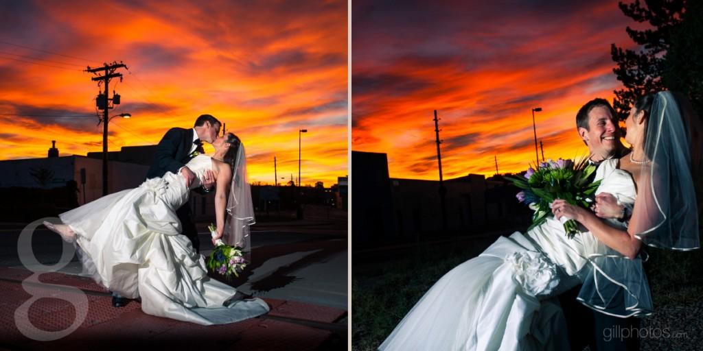 City sunset wedding photo
