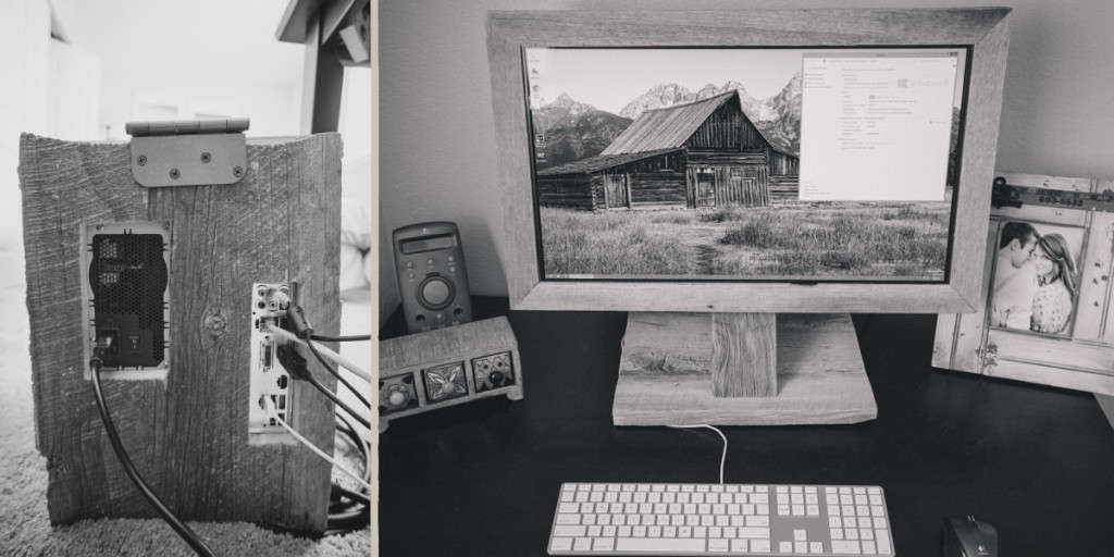 Wood PC with Wood PC Case and Monitor