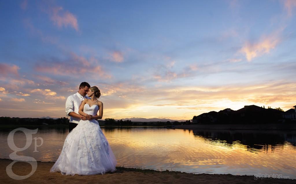 Pelican Lakes Sunset Wedding Photo