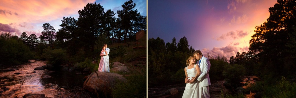 Sunset Wedding photo at Wild Basin Lodge in Estes Park, CO