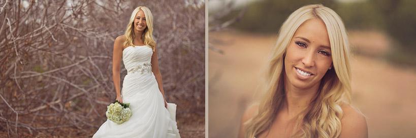 Arizona Wedding Dress next to Fig Trees