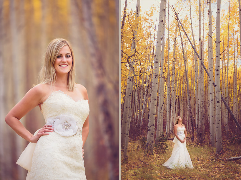 Fall wedding in Aspen Trees in Vail, CO