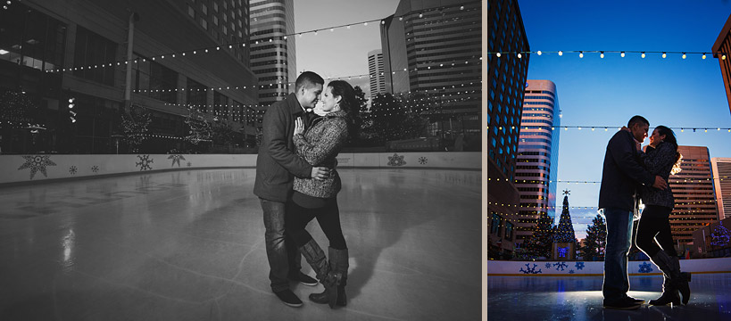 Downtown Denver Ice Rink Engagement Photo