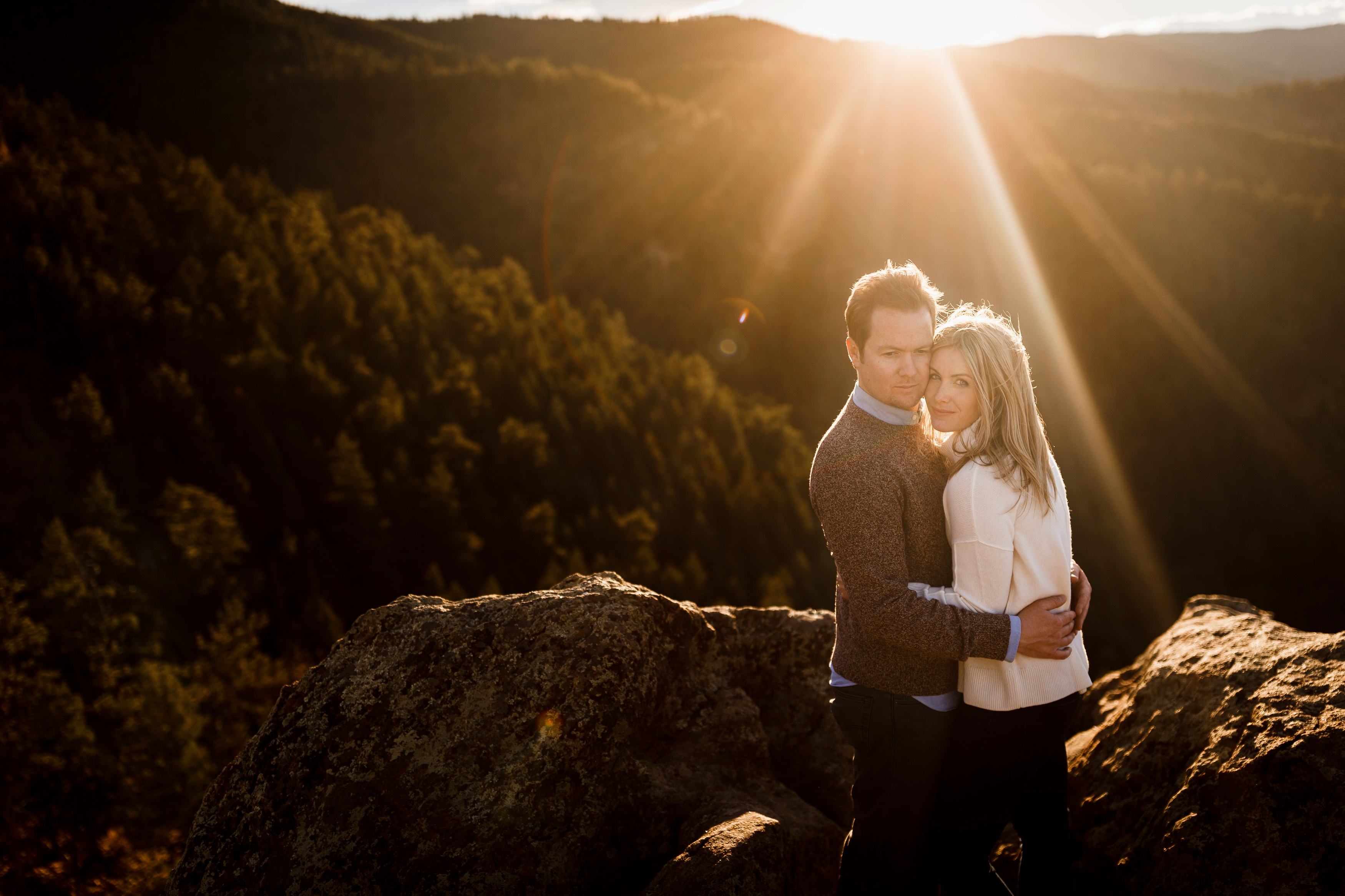 Ray & Hannah on Lost Gulch Overlook for their Boulder Flatiron Engagement