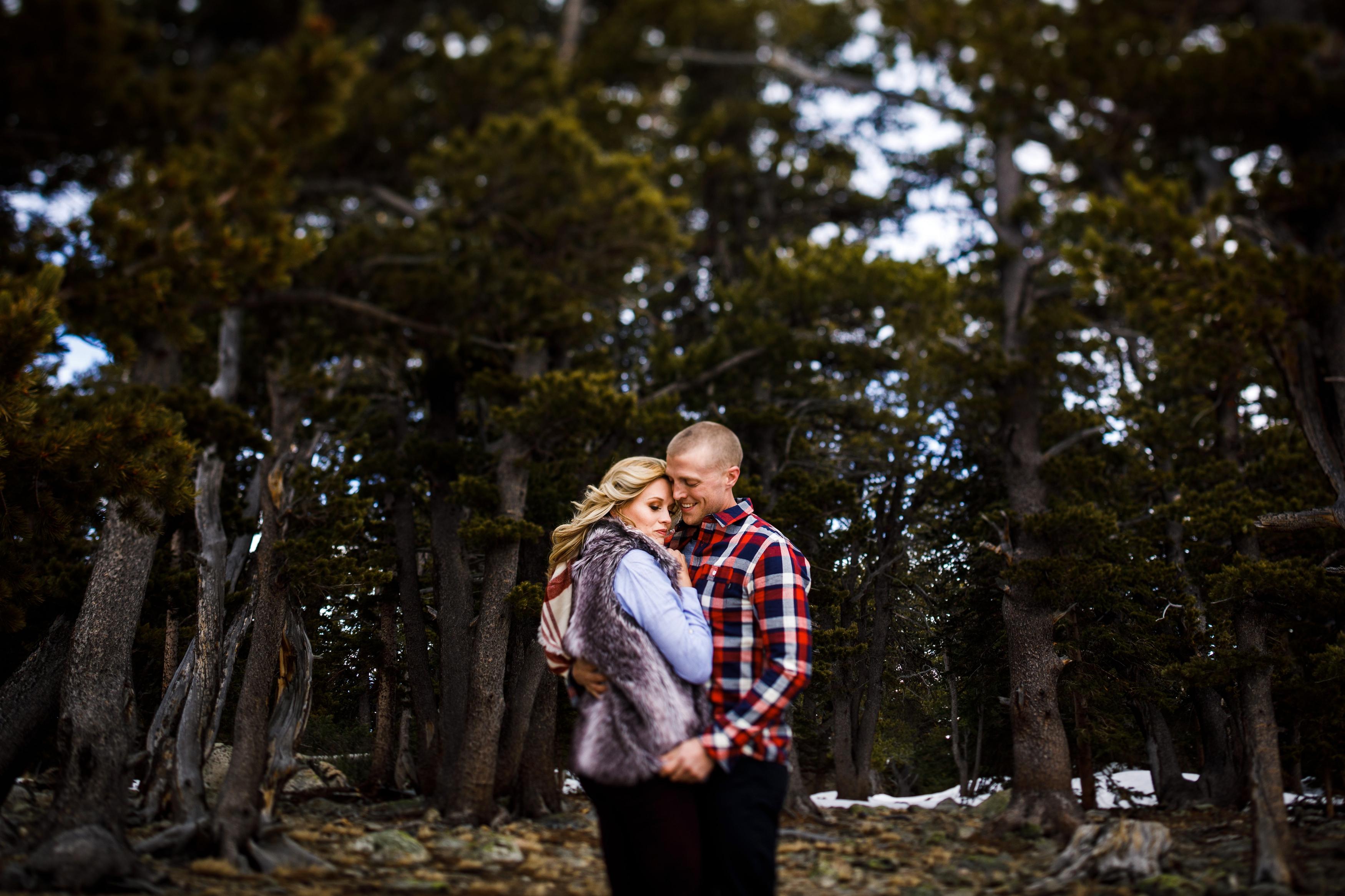 Winter Engagement photo at Brainard Lake