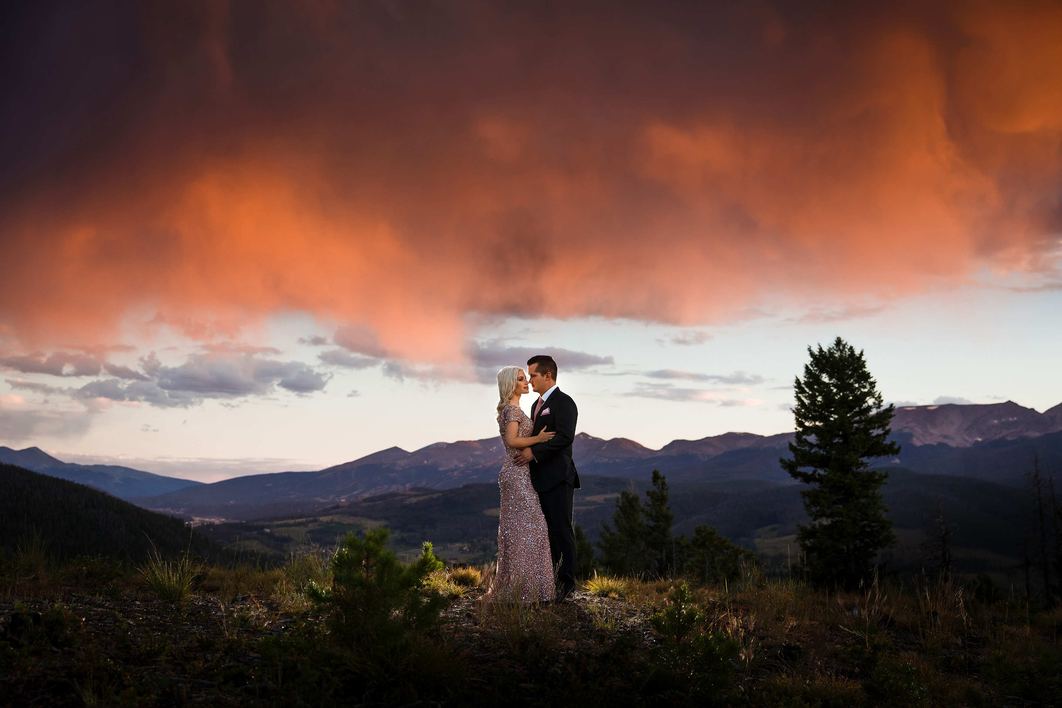 Sunset on top of Sapphire Point for their Breckenridge Engagement Photos