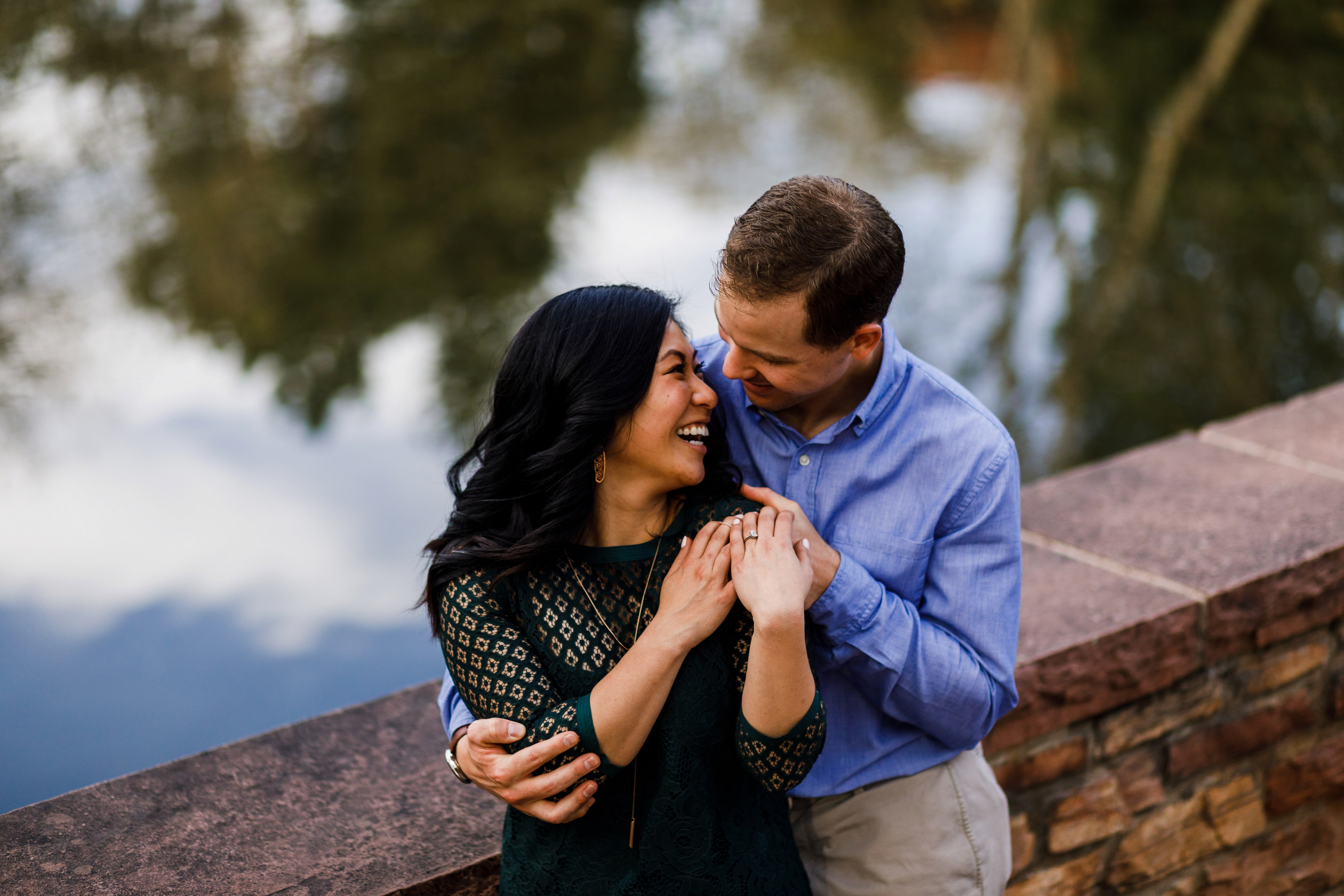 Varsity Lake engagement photo on CU Campus