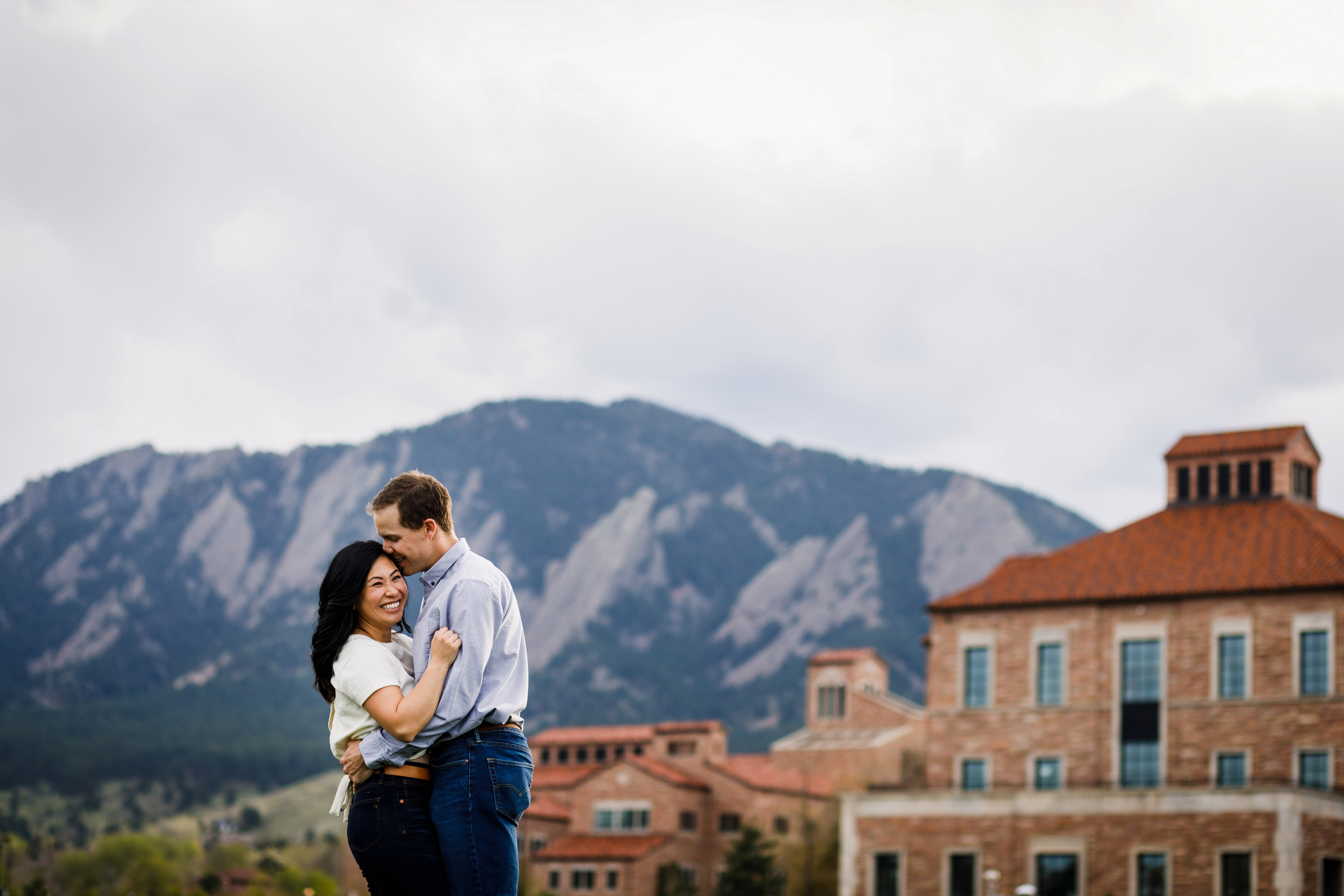 Engagement photo on Colorado University CU Campus
