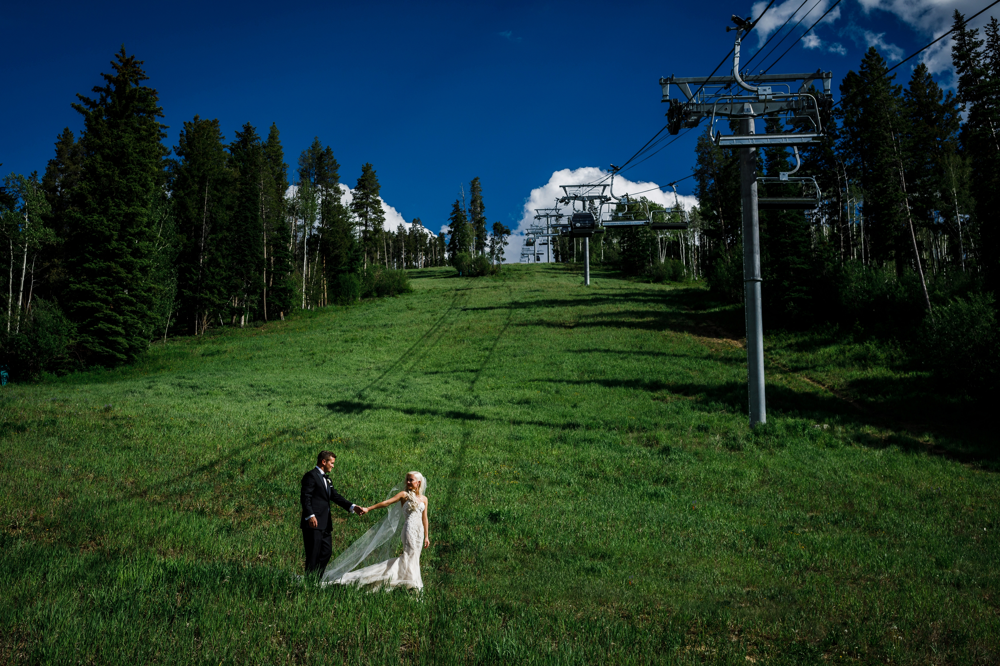 Bride & groom on the ski slopes of Beaver Creek Resort