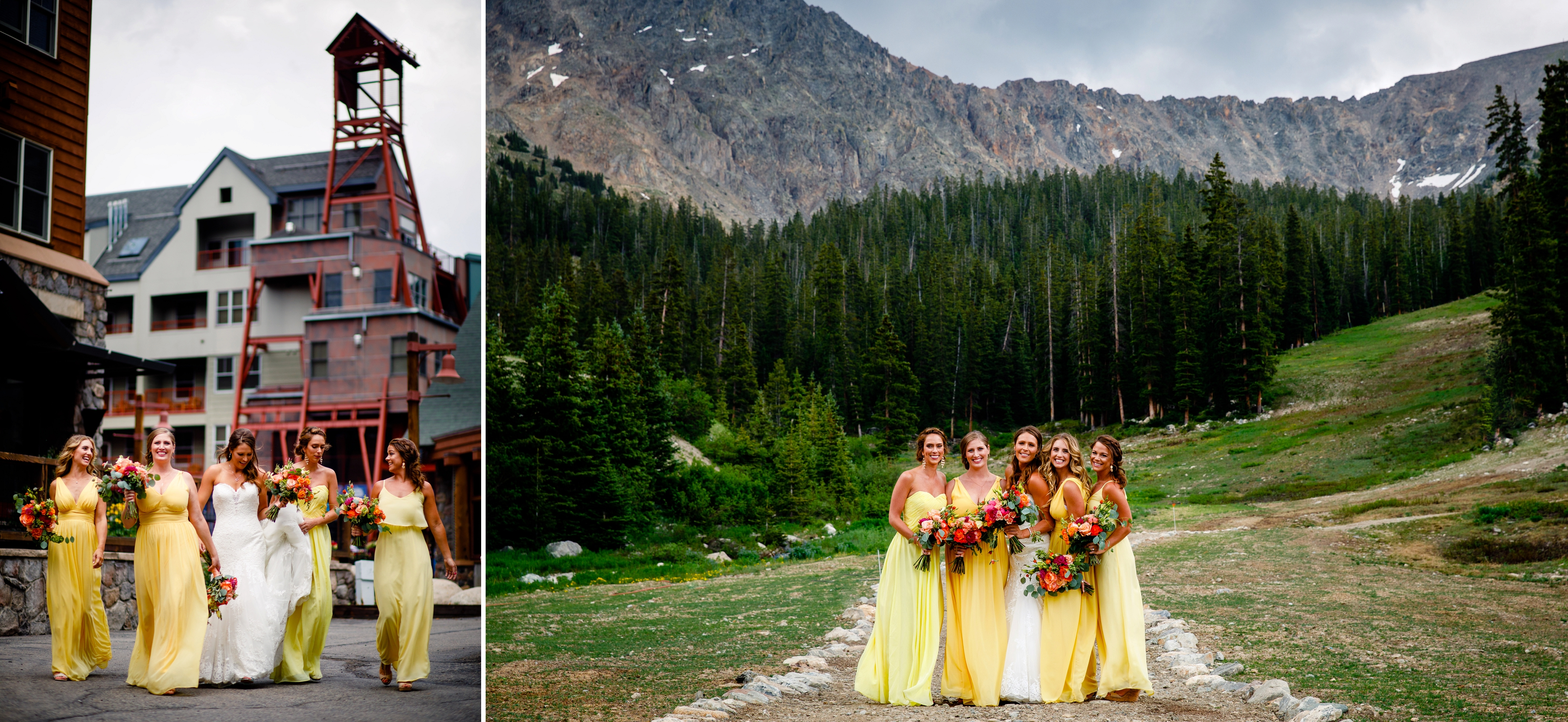 Yellow bridesmaids dresses at Keystone, CO