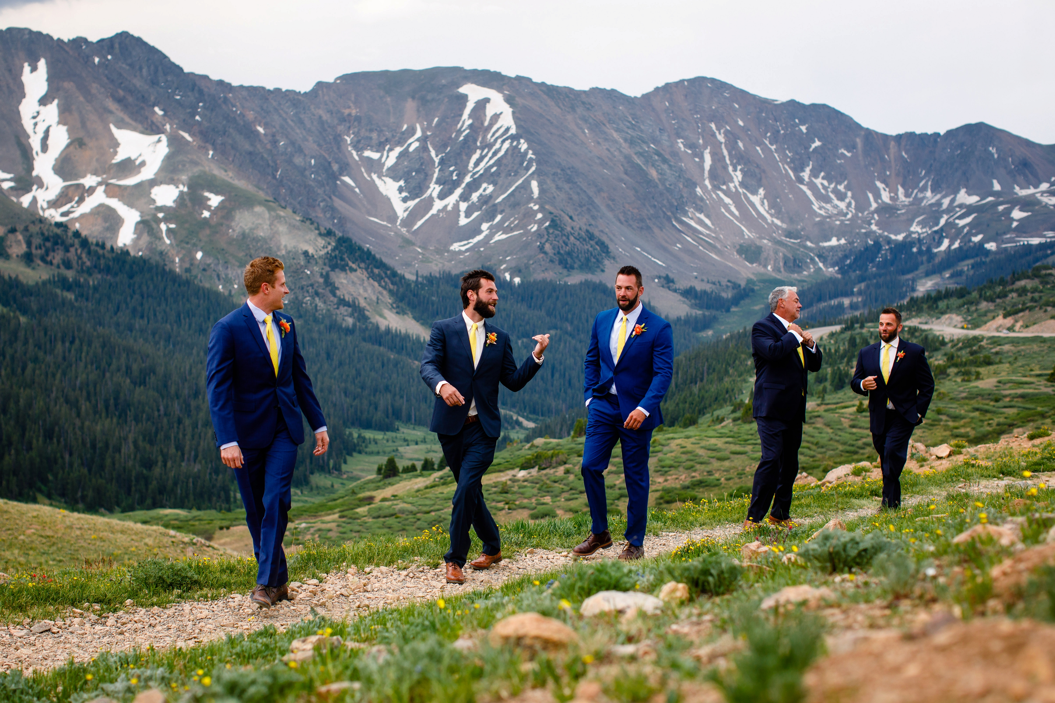 Wedding party photo on the top of Loveland Pass