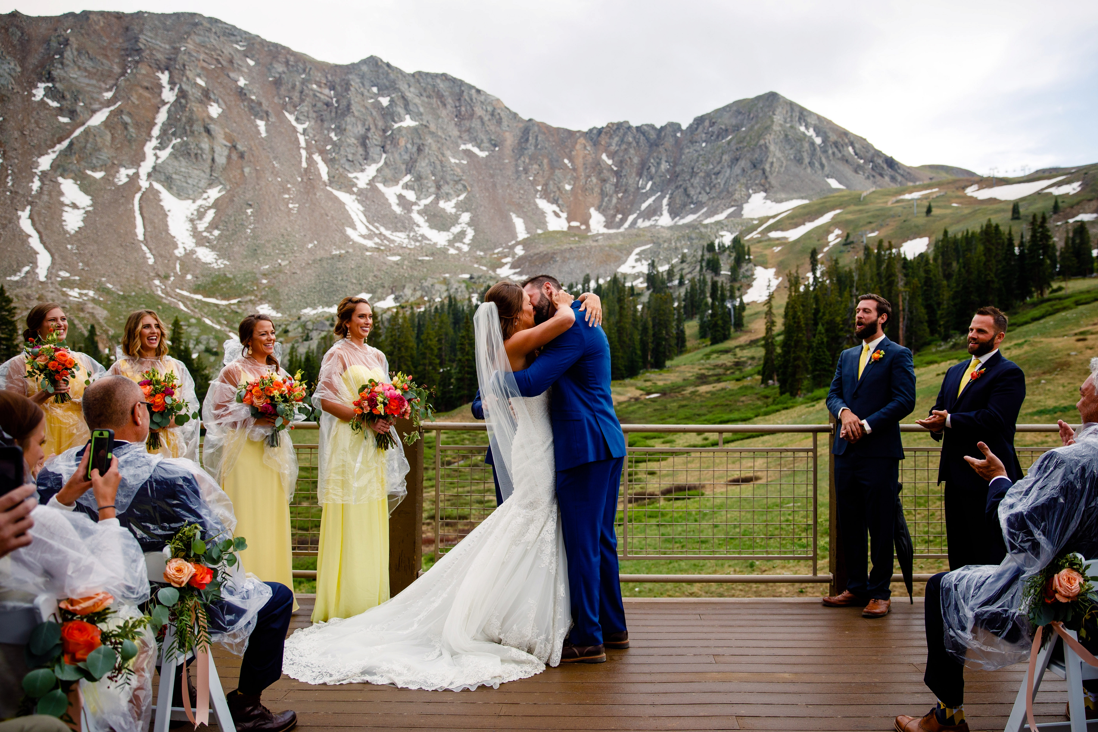 First Kiss For Bride Groom At Arapahoe Basin Summer Wedding