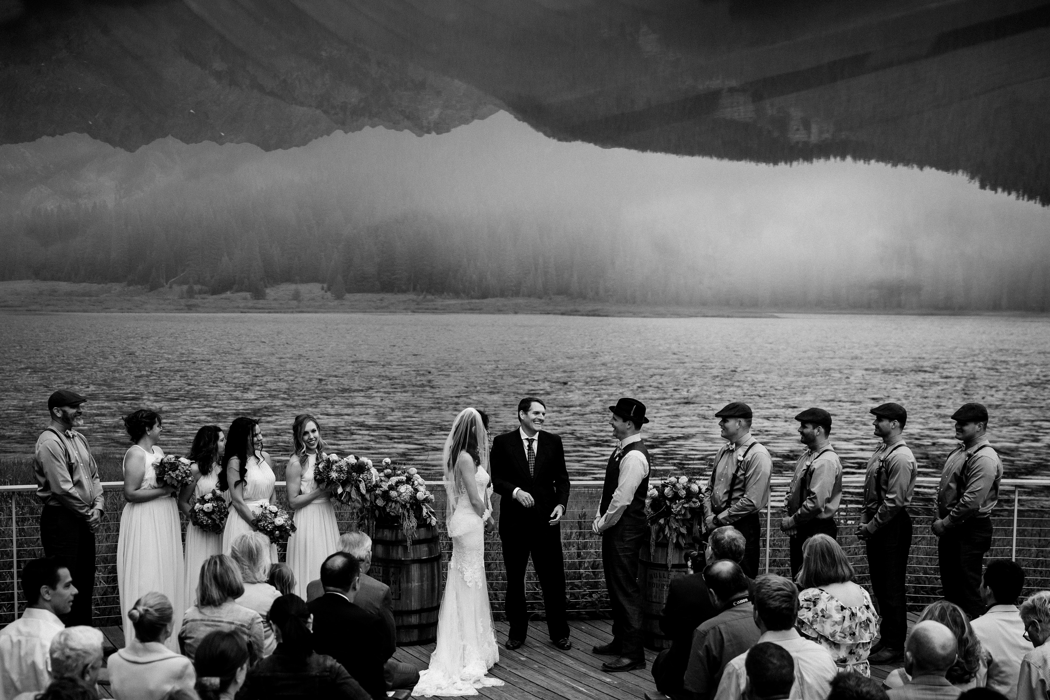 Piney River Ranch wedding ceremony on the deck