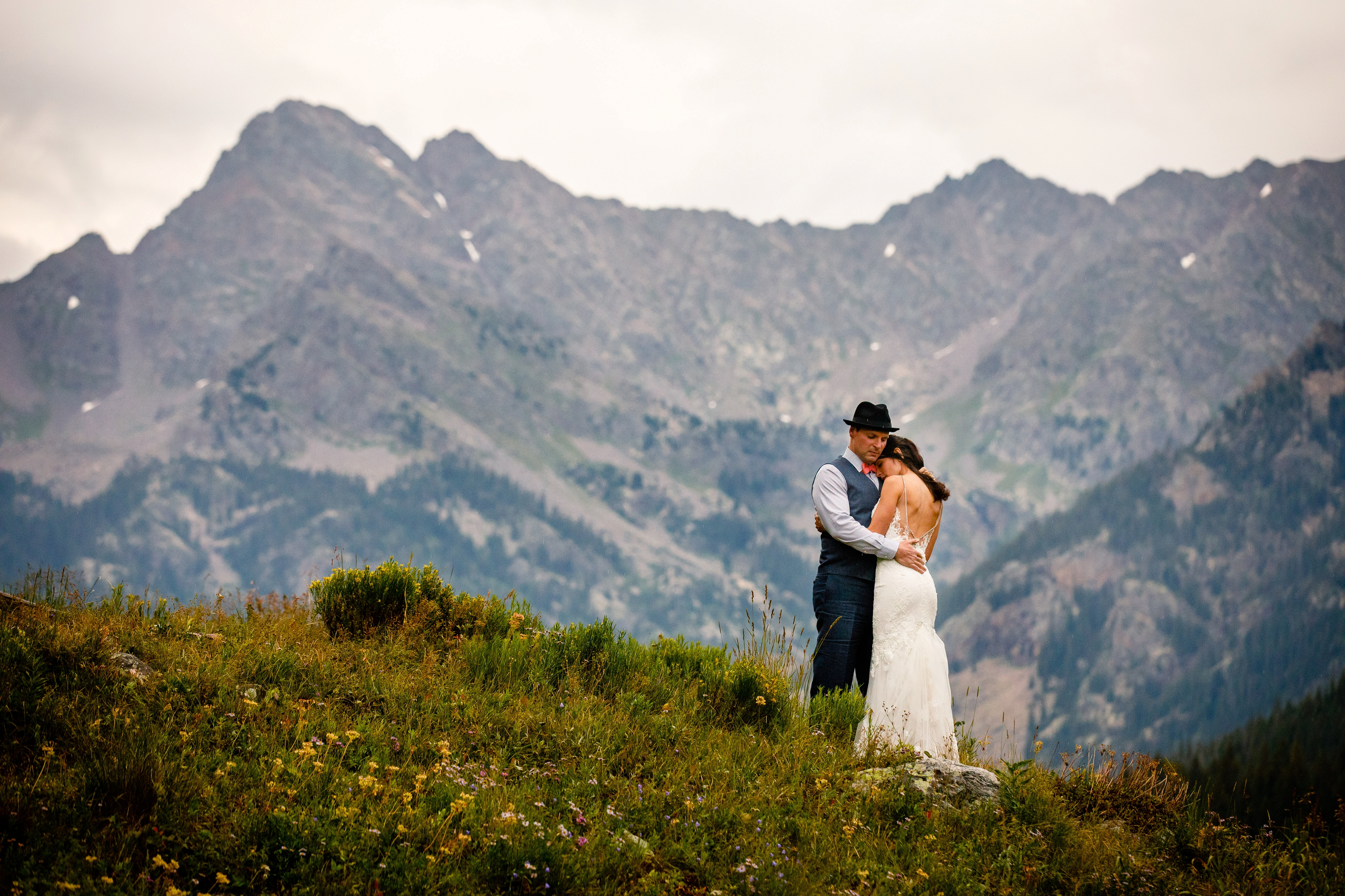 Just married at their Piney River Ranch Wedding in Vail, CO