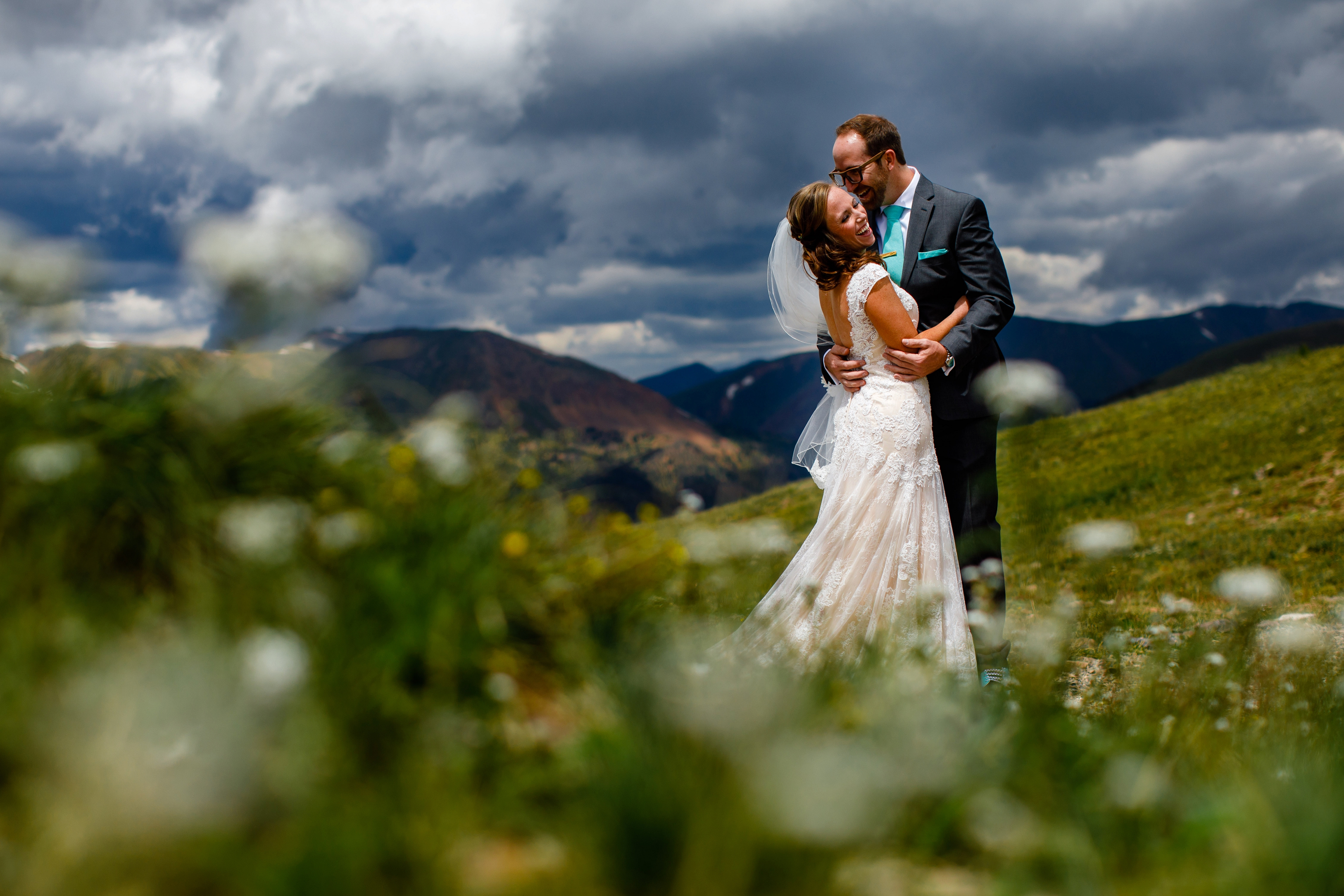 Bride & groom first look before their Arapahoe Basin Wedding