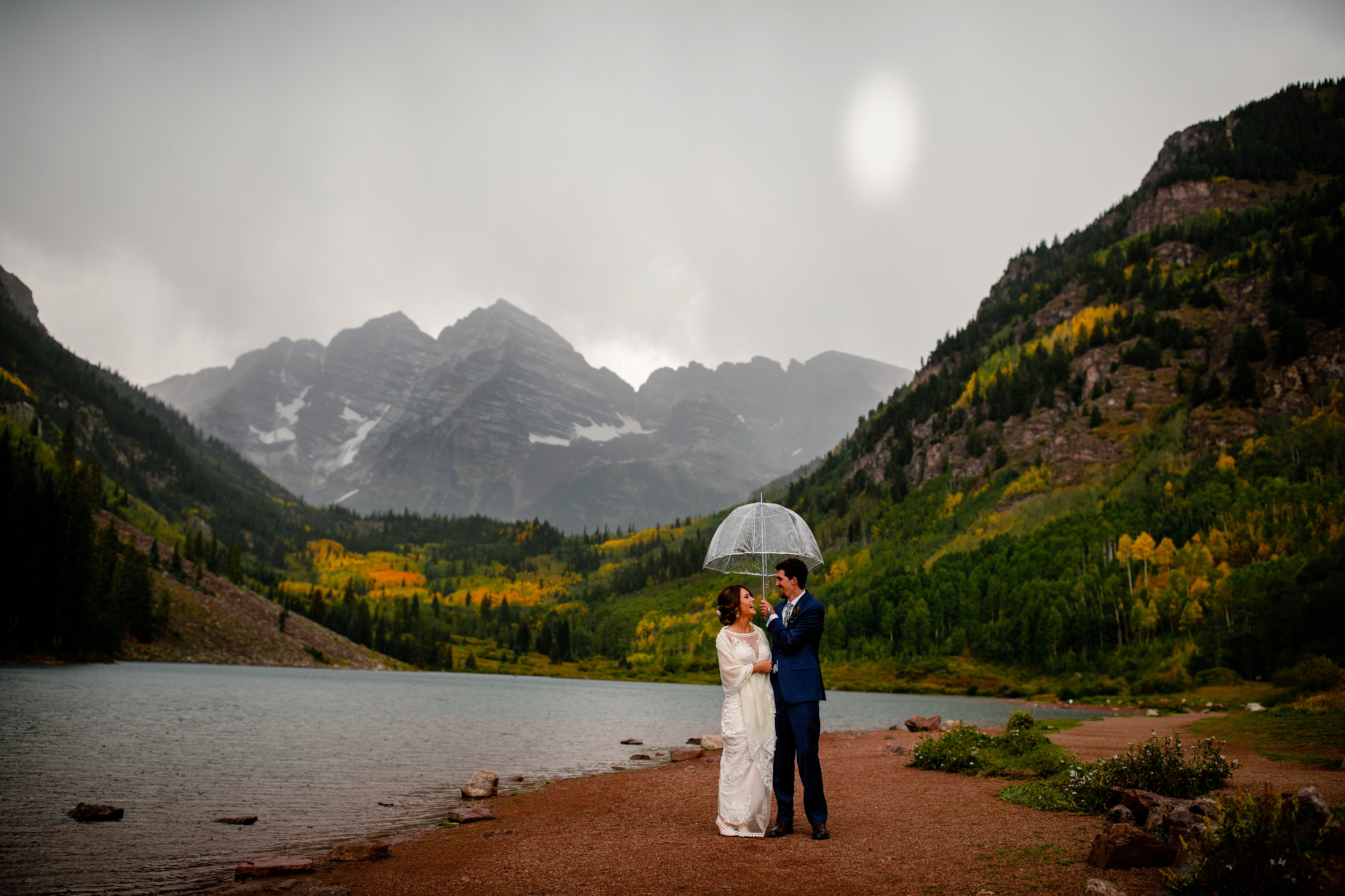 A rainy day for Autumn & Griffin's Maroon Bells Wedding.