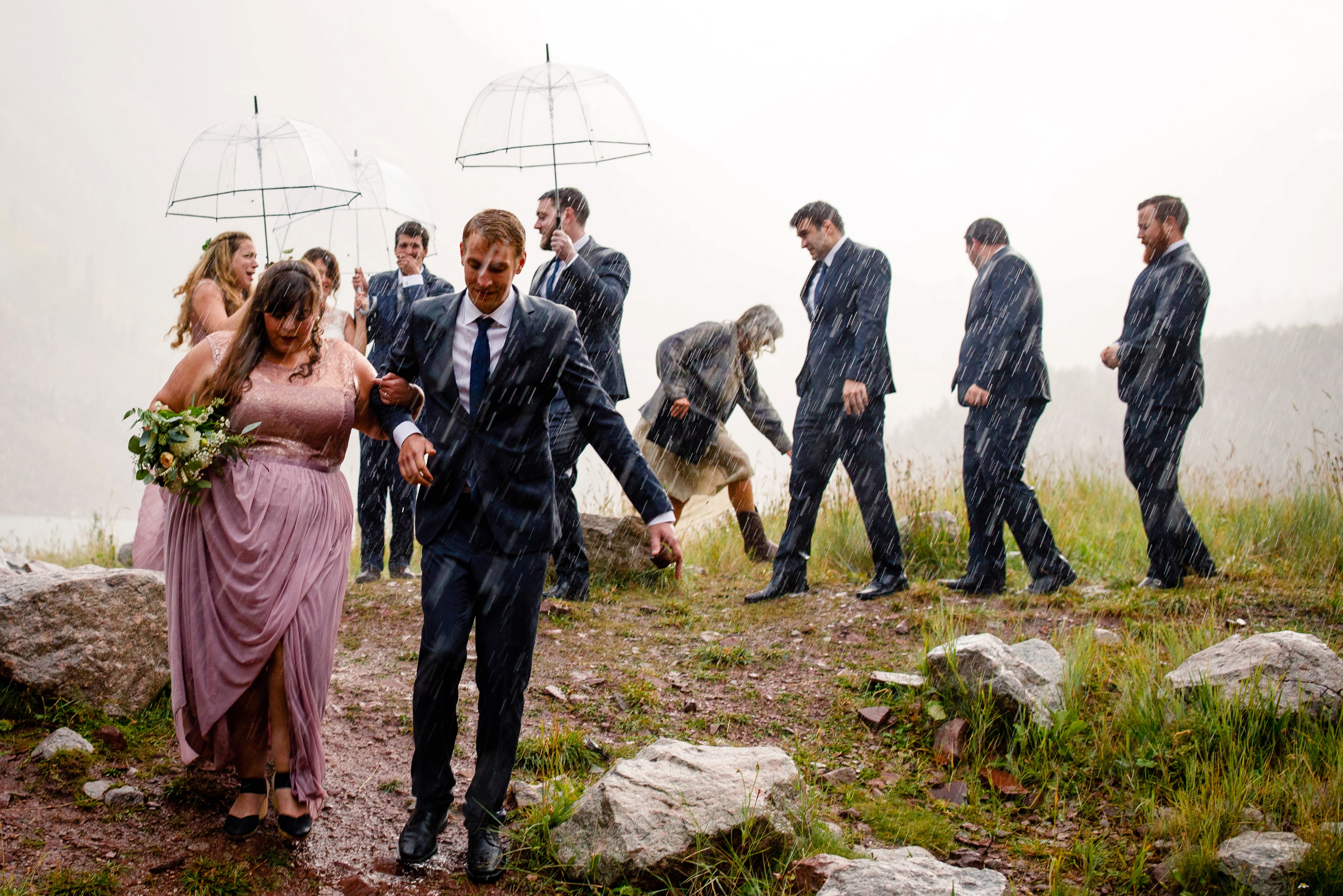 A rainy wedding ceremony in Aspen, CO.