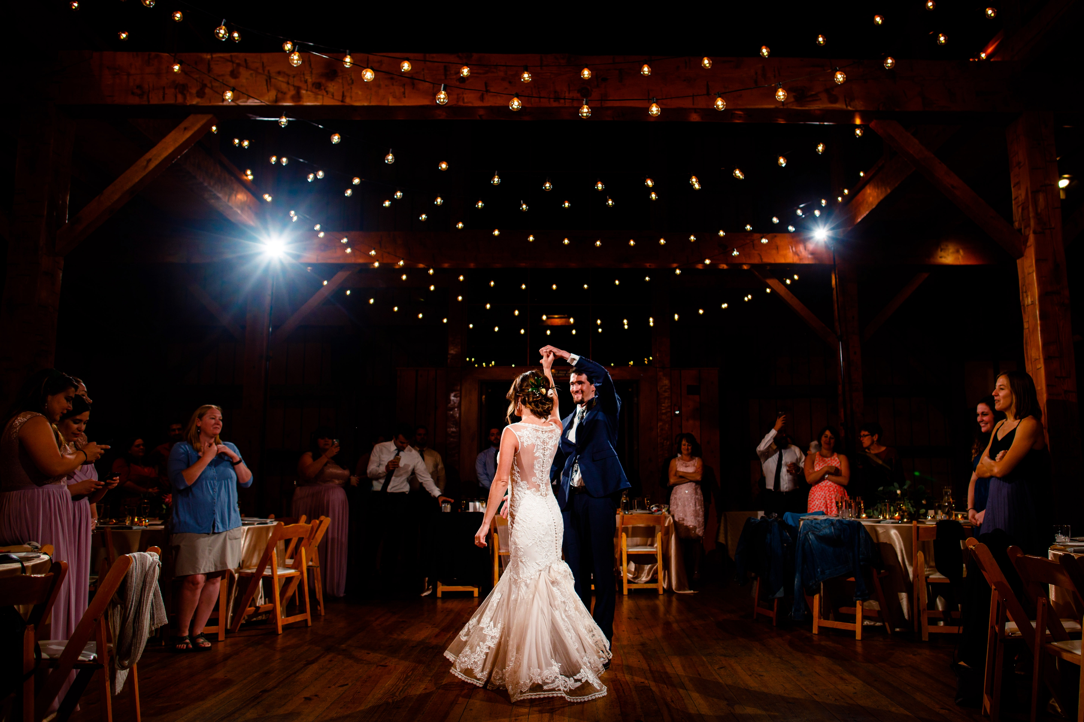 Griffin & Autumn share their first dance at the Old Thompson Barn during their wedding reception.