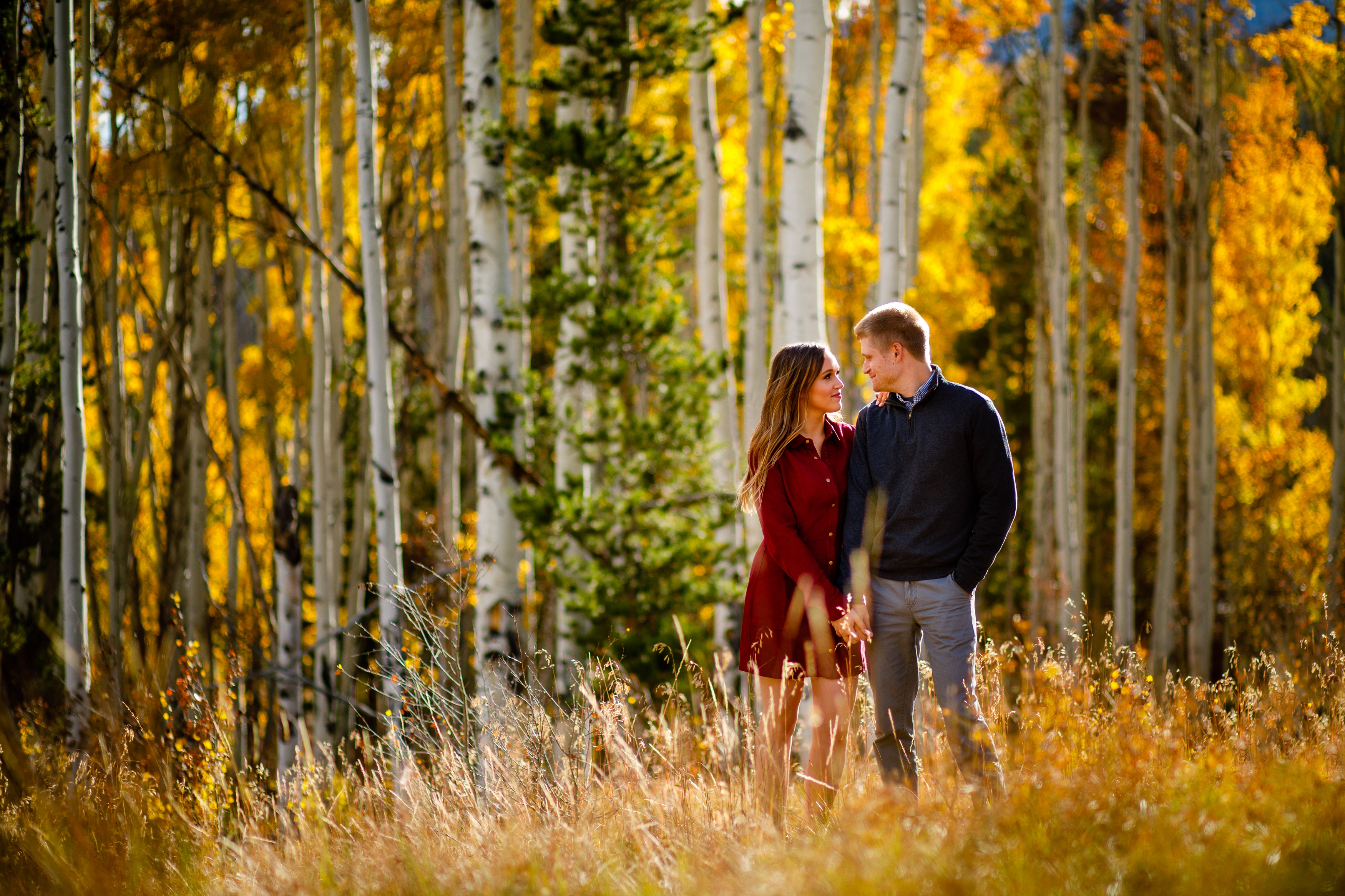 Fall engagement photo of Shane & Kia on Wildernest in Silverthorne, CO.