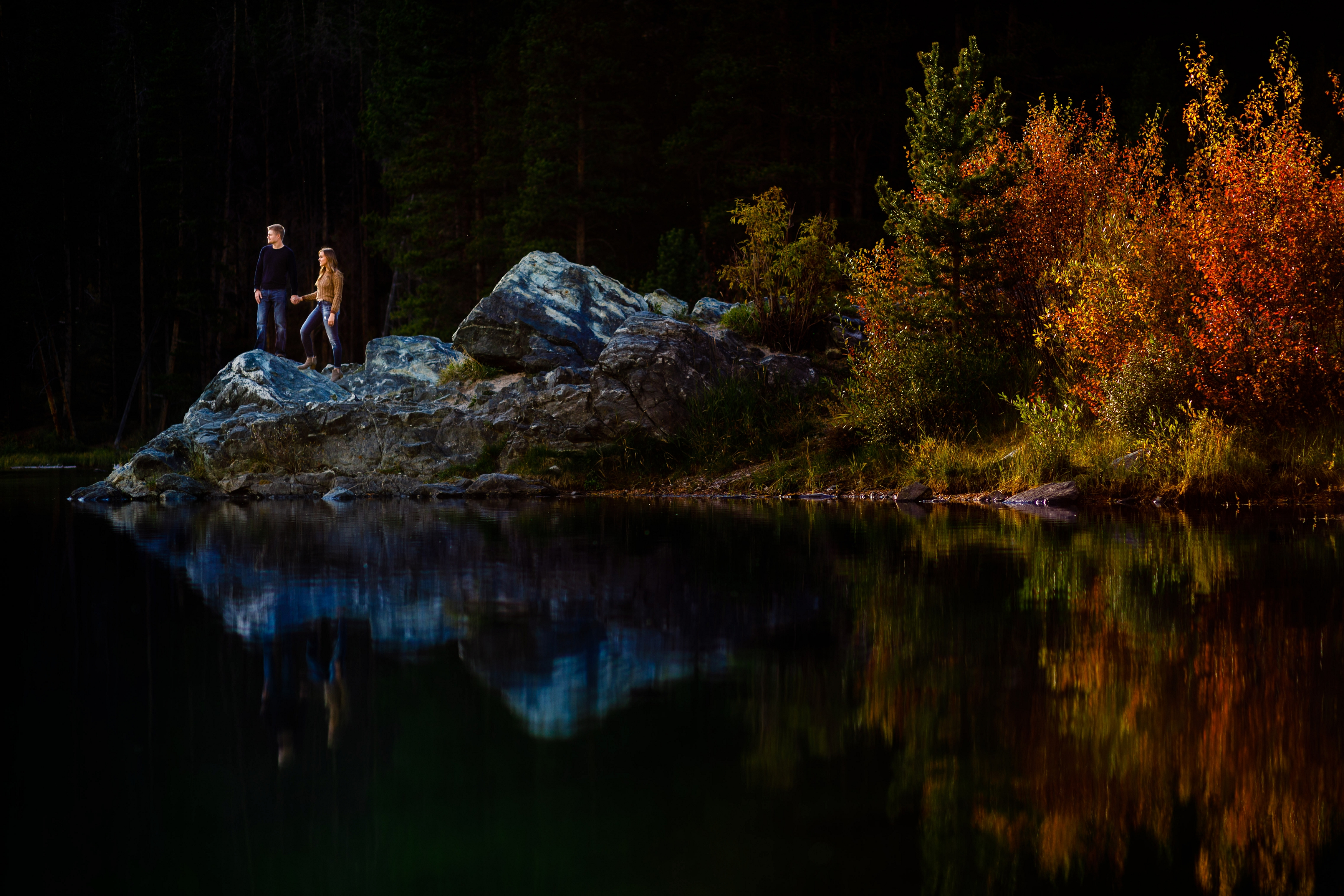 Breathtaking fall engagement photo at Officers Gulch near Frisco, CO.