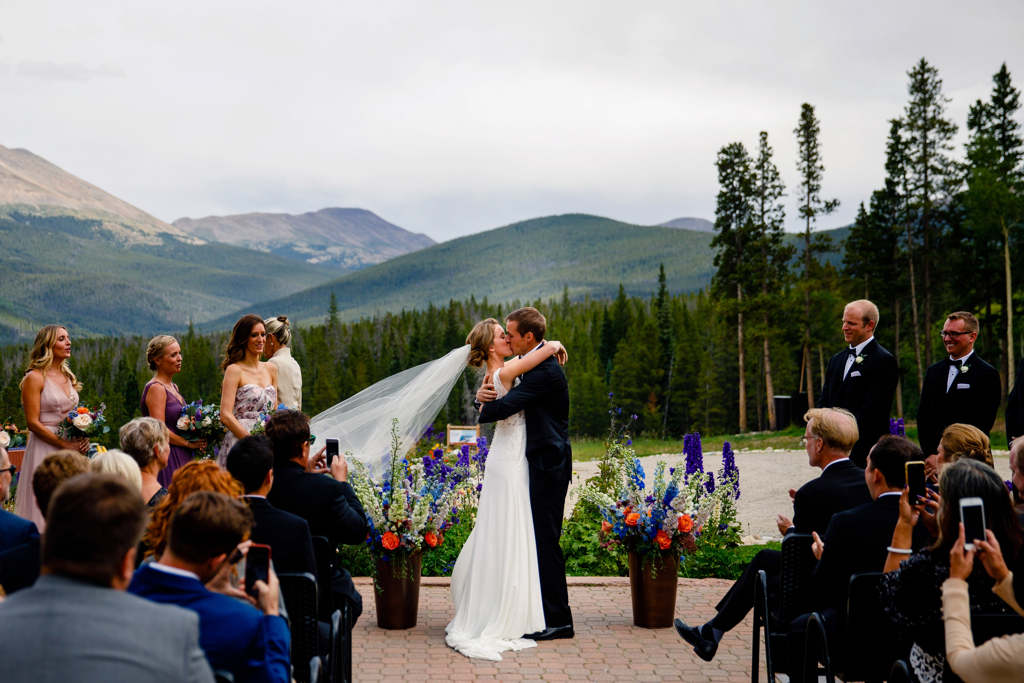 Nick & Lauren's first kiss during their TenMile Station Wedding in Breckenridge, CO