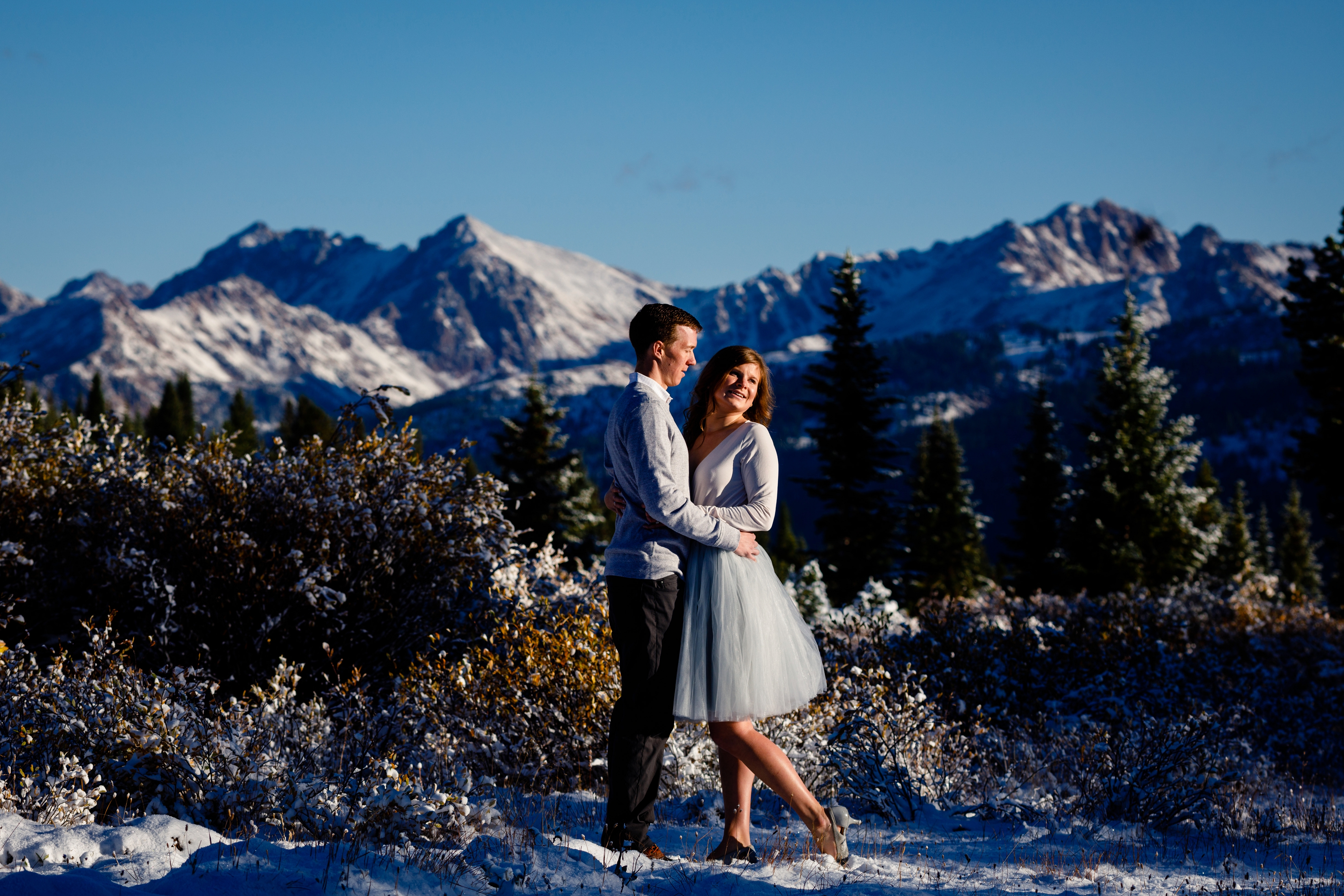 The Gore Range in the background of these two during their Vail Pass Engagement.