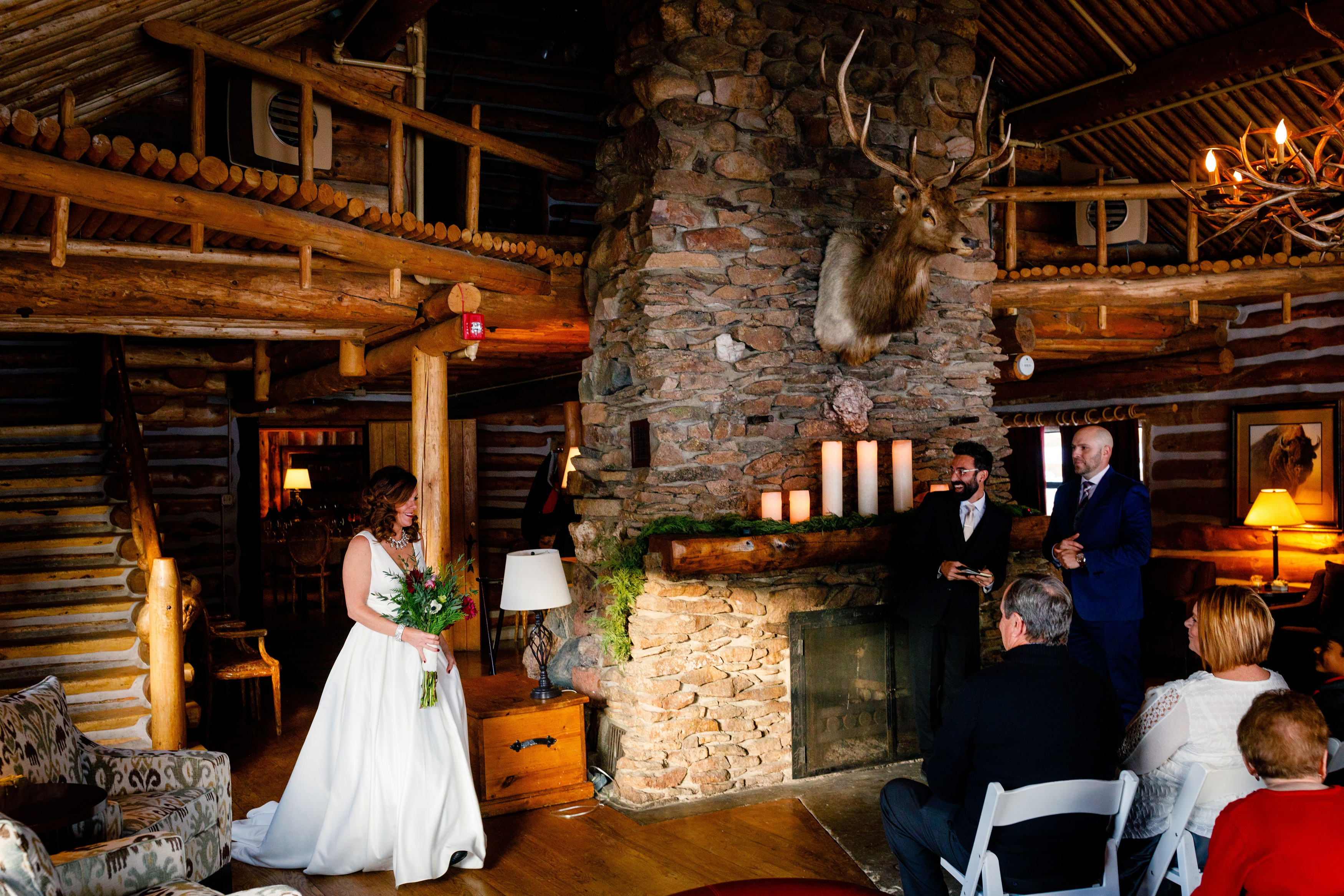 A wedding ceremony inside the Keystone Ranch Lodge.
