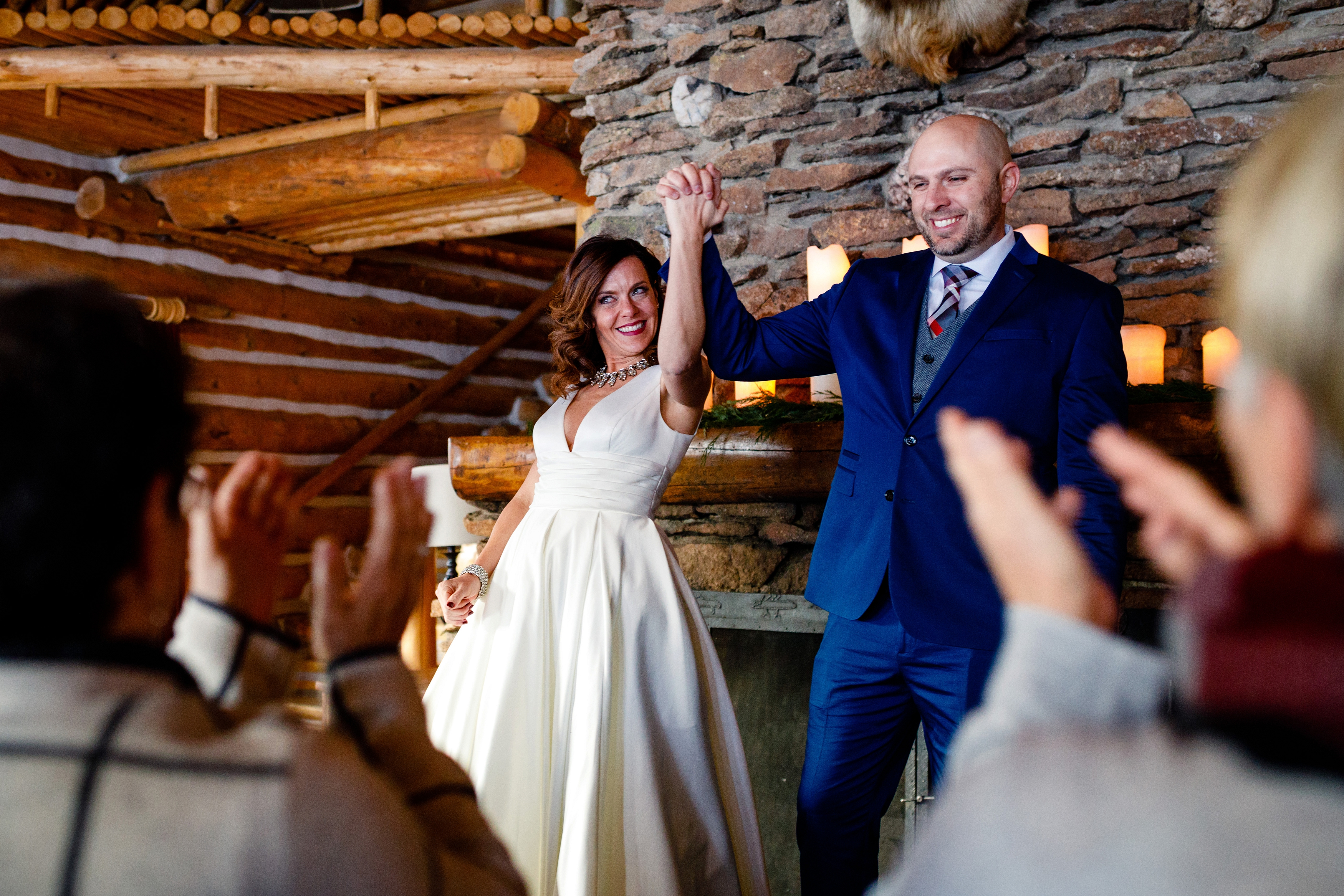 The moment after their first kiss as husband & wife in the Keystone Ranch Lodge.