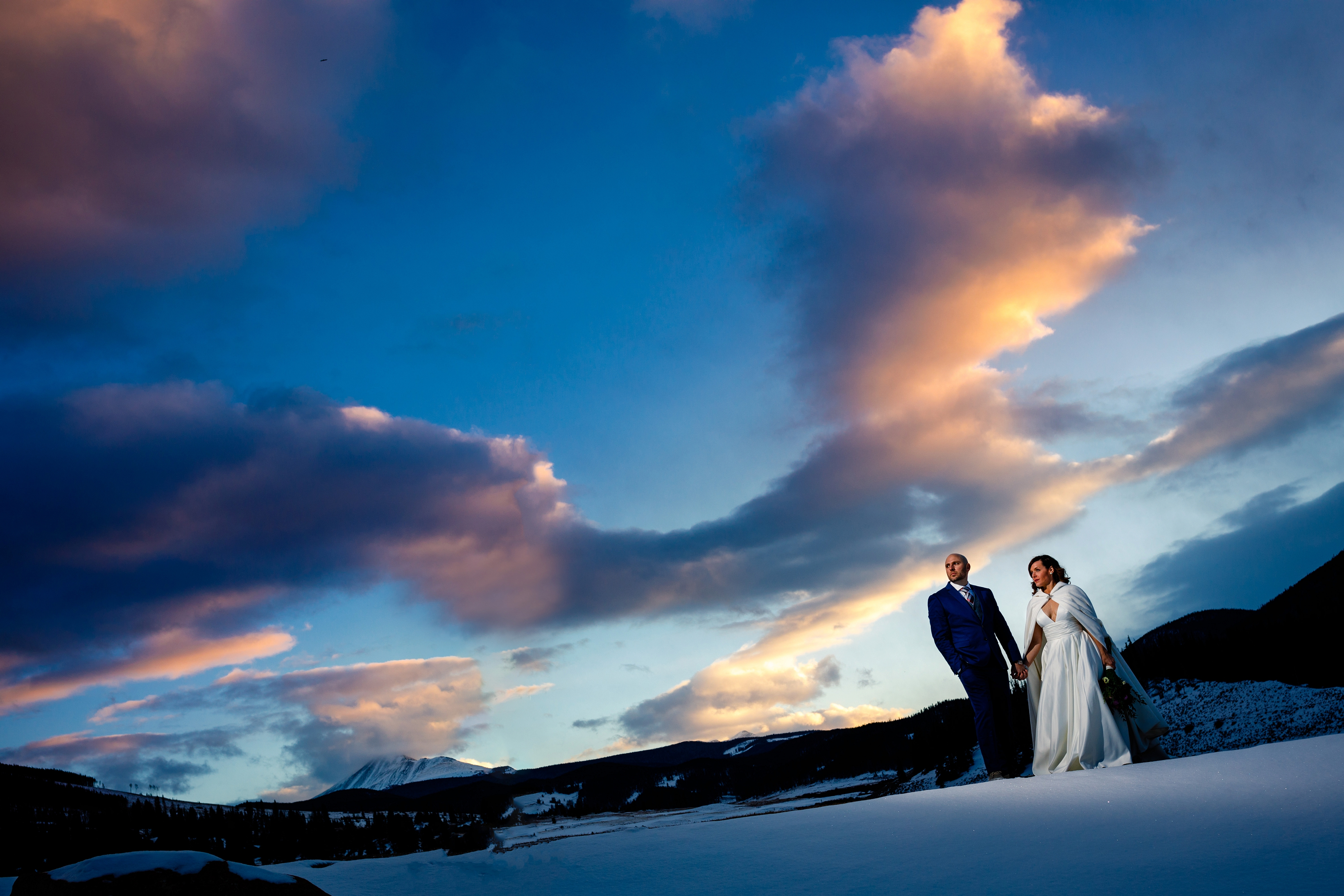 A beautiful winter sunset wedding portrait for Rachel & Scott at Keystone Ranch.