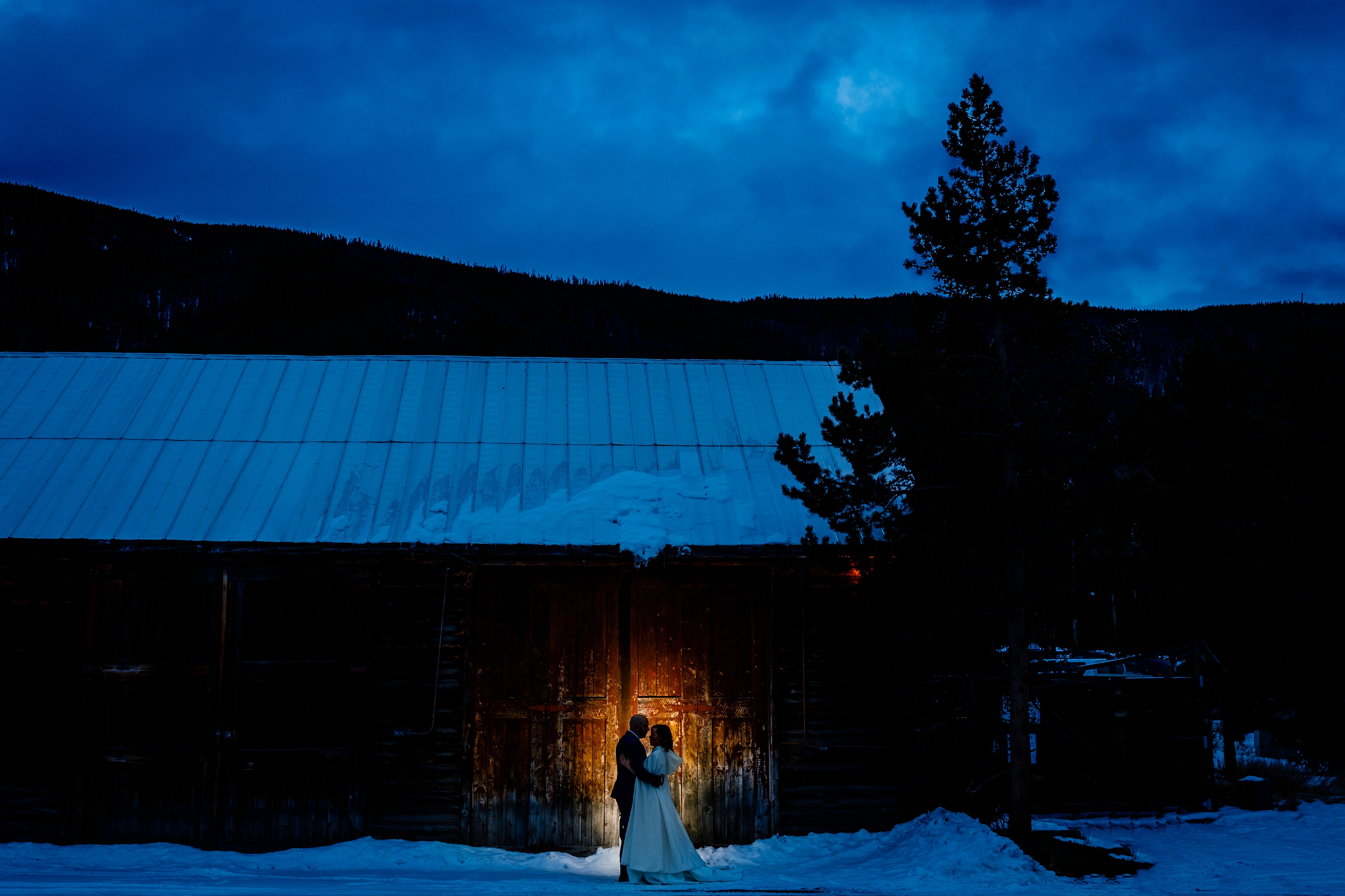 One last nighttime portrait for Rachel & Scott's Keystone Ranch Winter Wedding in December of 2017.