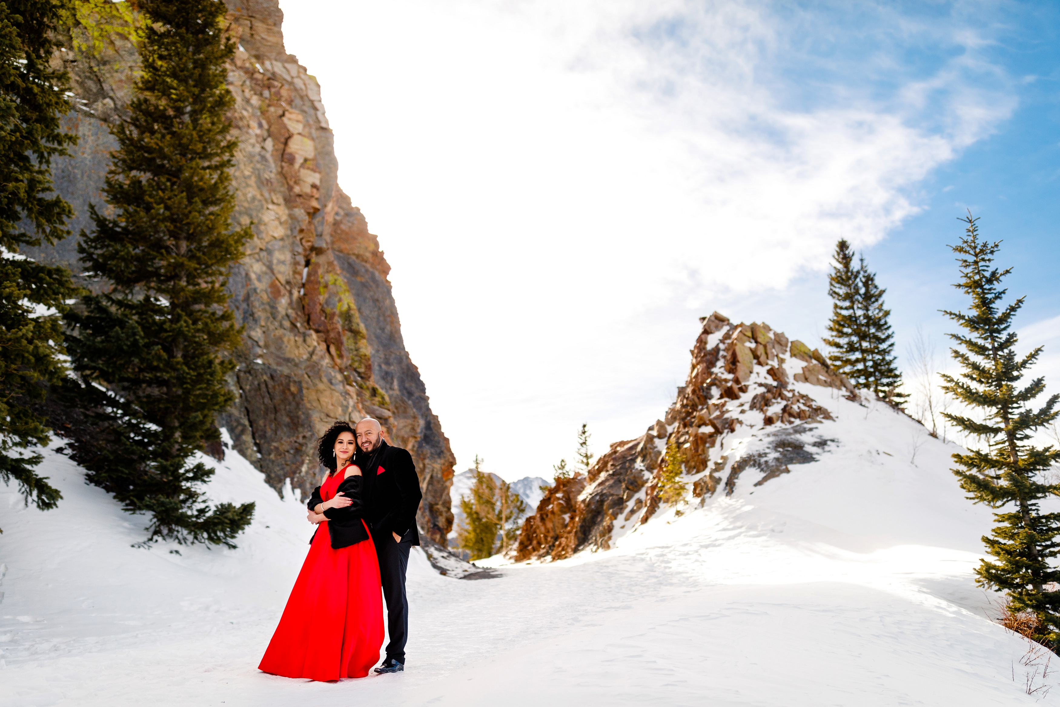 One photograph from this Boreas Pass Winter Engagement session shot in Breckenridge, CO.