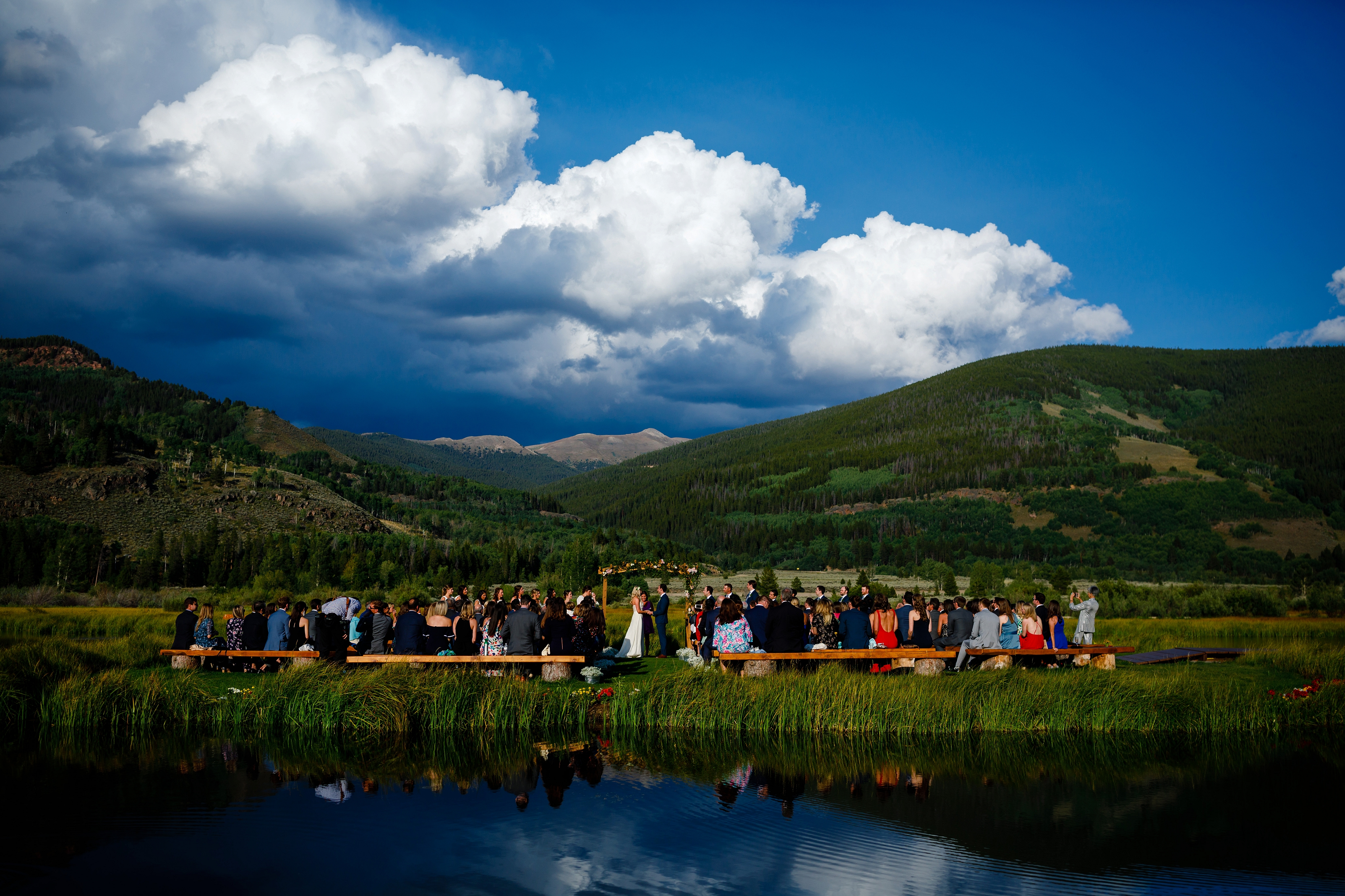 The ceremony site at for Josh & Fabiana's Historic Camp Hale Wedding near Red Cliff, CO.