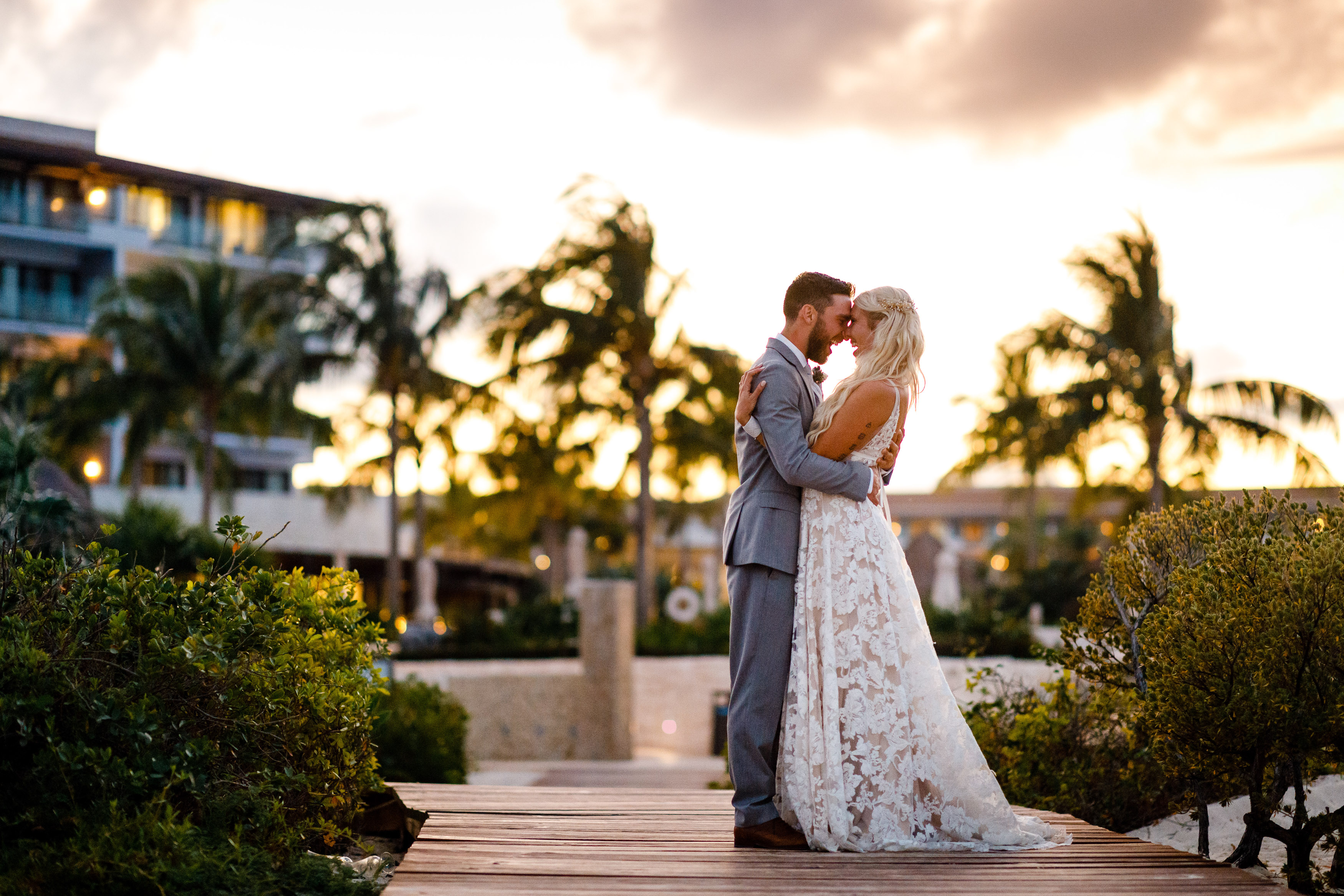 Warm golden hour portraits for Jeff & Cathryn's Dreams Playa Mujeres Wedding in December of 2019.